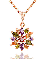 Necklace AAA Cubic Zirconia Pendant Necklaces Jewelry Daily Flower Fashion Alloy Women 1pc Gift Multi Color