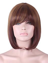 más vendido de Europa y los Estados Unidos cos marrón oscuro peluca de poliéster teñido explosión aseada peluca bobo de 10 pulgadas