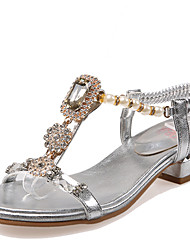 Women's Shoes Chunky Heel Open Toe Slingback Sandals with Rhinestones and Pearls More Color Available