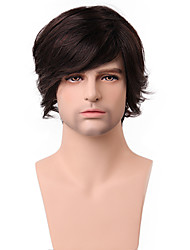 boutique última longo macio do meio 100% peruca de cabelo humano sem tampa para os homens moda