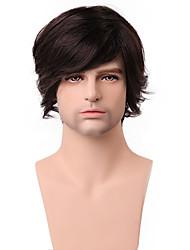 Boutique última larga peluca mullida medio 100% humano sin tapa cabello para hombres de moda