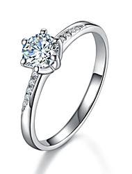 0.6CT Twist Setting Prongs SONA Diamond Engagement Ring for Women Sterling Silver Semi Mount Micro Paved Quality Promise