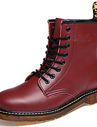 Women's Shoes Nappa Leather Flat Heel Motorcycle Boots / Combat Boots Boots Outdoor / Party & Evening / Casual Red
