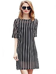 Mulheres Reto Vestido,Happy-Hour / Tamanhos Grandes Simples / Moda de Rua Estampado Decote Redondo Acima do Joelho Manga CurtaBranco /