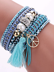 Fashion Multilayer Rhinestone Leather Tassel Bracelets & Bangles Magnetic jewelry Christmas Gifts