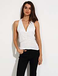 Women's Summer Tanks,Solid V Neck Sleeveless White / Black Thin