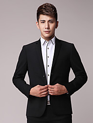 2017 Suits Slim Fit Notch Single Breasted Two-buttons Polyester Stripes 2 Pieces  Straight Flapped  Double  Pockets