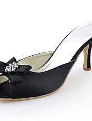 damesschoenen zijde naaldhak hakken / peep toe hakken bruiloft / feest&avond / jurk zwart