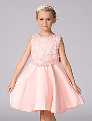 Ball Gown Knee-length Flower Girl Dress - Cotton Lace Satin Jewel with Bow(s) Lace