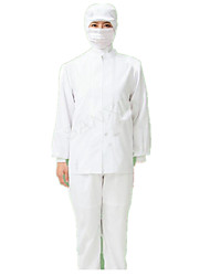White Overalls Suit Food Production Plants Serving High-Quality Food White Clean Clothes