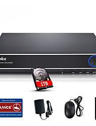 SANNCE® 4CH 720P Multi-mode input  eCloud HDMI 1080P/VGA/BNC CCTV System DVR Built-in 1TB HDD
