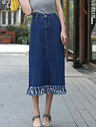 Women's Solid Blue Skirts,Vintage Midi