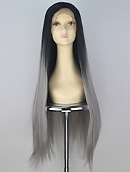 Synthetic Women Long Straight Hair Ombre Black into Grey Color Lace Front Wig Thick Hair Fashion Party Wigs