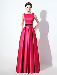 Formal Evening Dress A-line Square Floor-length Satin with Beading / Pockets