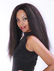 frente yaki 8-30inch encaje recta pelucas pelucas del cordón brasileño del cabello humano color negro natural