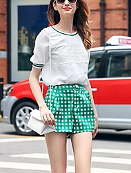PRASE  Women's Color Block Green Shorts Pants,Simple