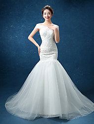 Trumpet / Mermaid Wedding Dress Sweep / Brush Train Straps Lace / Tulle with Bow / Lace / Pearl