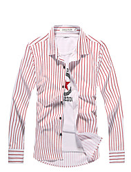 The spring and autumn new men's fashionable striped long sleeved shirt slim men's shirt iron business boom