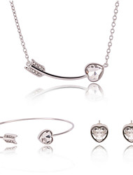 Silver Crystal Heart Arrow Cuff Bangle & Stud Earrings & Pendant Necklace Jewelry Set