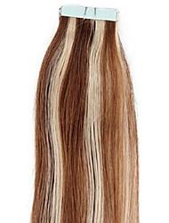 P8 / 613 # fita dupla desenhado em extensões de cabelo indiano do cabelo humano preto marrom menina pu trama de pele promoção 20pcs 100%