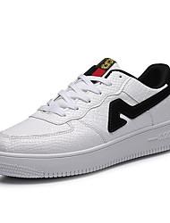 Herren-Flache Schuhe-Sportlich-PU-Flacher AbsatzSchwarz Weiß