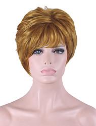 más vendido de Europa y los Estados Unidos con oro peluca corta marrón natural de 4 pulgadas