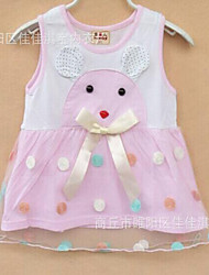 Baby Casual/Daily Solid Dress,Cotton Summer Green / Pink