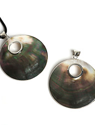 Beadia 60mm Natural Round Mother Of Pearl Black Shell Pendant Hollow Out with Eyelet (1Pc)
