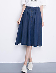 Women's Solid Blue Skirts,Street chic Knee-length