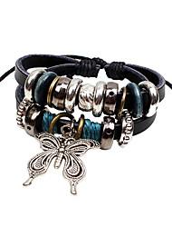 Fashionable Black 20cm Round Leather Bracelets