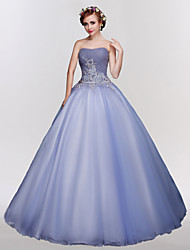 Ball Gown Strapless Floor Length Tulle Formal Evening Dress with Crystal Detailing Embroidery Lace by MMHY