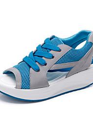 Синий / Красный / Оливковый-Женская обувь-Для прогулок / Для праздника-Кожа-На плоской подошве-Удобная обувь-Сандалии