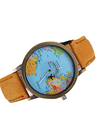 Men's Dress Watch Quartz Japanese Quartz Casual Watch World Map Pattern Leather Band Black White Brown Multi-Colored