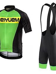KEIYUEM Cycling Jersey with Bib Shorts Unisex Short Sleeve Bike Bib Shorts Jersey Clothing SuitsQuick Dry Dust Proof Wearable Breathable