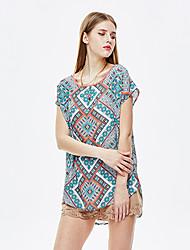 les femmes heartsoul de sortir blouse d'été simple, polyester floral bleu à manches courtes col rond mince