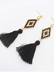 Stylish And Elegant Beads Diamond Tassel Earrings