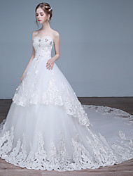 Ball Gown Wedding Dress Chapel Train Sweetheart Lace / Satin / Tulle with Beading / Lace