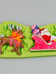 Christmas Large Reindeer Sleigh Silicone Mold Chocolate Fondant Cake Decorating Tools for Cupcake Candy Clay Fimo Resin
