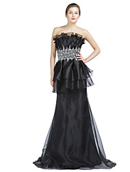 Mermaid / Trumpet Strapless Sweep / Brush Train Organza Formal Evening Dress with Beading Crystal Detailing Draping by A-Fu