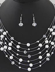 European Style Fashion Exquisite Bohemian Crystal Multilayer Shell Necklace Earring Set