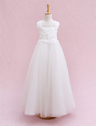 Lanting Bride Ball Gown Ankle-length Flower Girl Dress - Tulle Sleeveless Straps with Flower(s) / Bandage