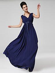 Damen A-Linie / Chiffon Kleid-Party/Cocktail Sexy Solide V-Ausschnitt Maxi Ärmellos Blau Seide / Baumwolle Alle Saisons