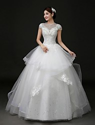 2017 Ball Gown Wedding Dress Court Train Jewel Lace / Tulle with Appliques / Beading / Bow
