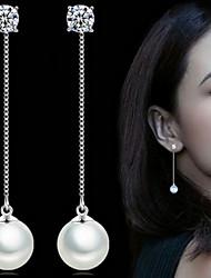 Women 925 Fine Silver Pearl Tassl Drop Zircon Earrings for Wedding Party