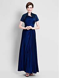 LAN TING BRIDE Sheath / Column Mother of the Bride Dress - Convertible Dress Ankle-length Short Sleeve Satin Jersey with Beading