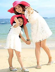 Manga Curta Sets Roupas Família Verão / Primavera Médio Sem Elasticidade Algodão Manga Curta