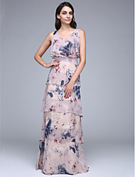 TS Couture® Formal Evening Dress Sheath / Column V-neck Floor-length Chiffon with Sash / Ribbon / Tiers