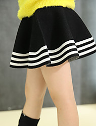 Girl's Casual/Daily Striped Dress,Wool Winter / Spring / Fall Black / Red