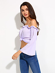 Women's Beach Simple / Boho Blouse,Solid Boat Neck Long Sleeve Purple Polyester Thin