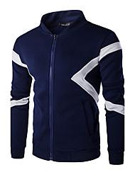 Pull à capuche & Sweatshirt Pour des hommes Couleur Pleine Décontracté / Sport Coton Manches longues Bleu / Blanc